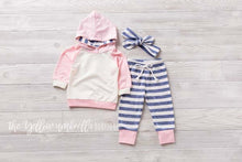 Load image into Gallery viewer, Girl Hoodie Outfit [Pastel Pink and Heathered Blue Stripe] (FINAL SALE!)