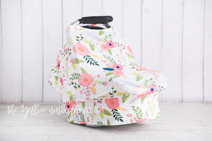 Blush Peony & Daisy Floral Baby Car Seat Cover