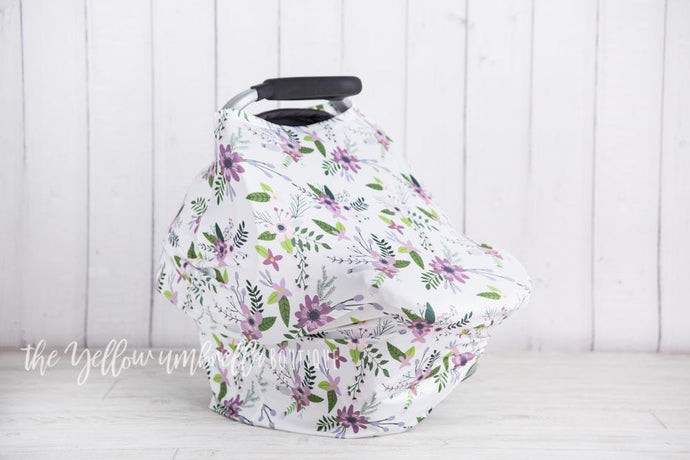 Lavender Floral Baby Car Seat Cover