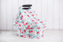 Load image into Gallery viewer, Fruit Punch Peony & Teal Leaf Baby Car Seat Cover
