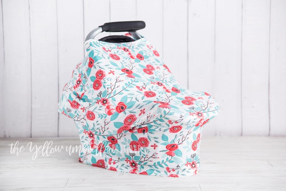 Fruit Punch Peony & Teal Leaf Baby Car Seat Cover