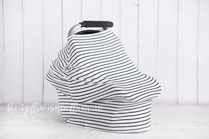 Thin Black and White Stripe Baby Car Seat Cover