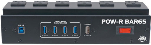 AMDJ POW-R BAR65 Heavy Duty Power Distributor with 6 AC and 4 USB 3.0 Surge Protected Outlets and USB Hub
