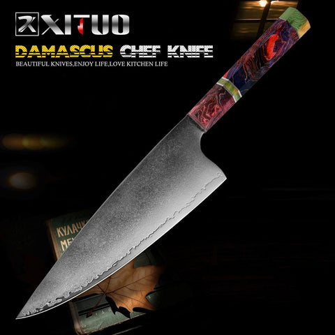 Chef Knife 67 Layer Japanese Damascus Steel 8 Inch Sharp Cleaver Slaughter Knives