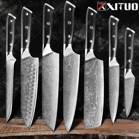 Damascus Chef Knife Professional Japan Sankotu Cleaver Bone Knives