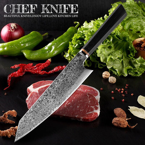 Handmade Knife 67-layers Japanese Damascus Stainless Steel Chef Knife