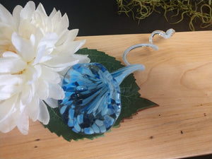 Hand blown glass flower Blue