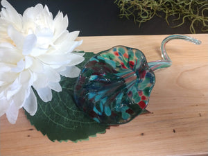Hand blown glass flower Teal