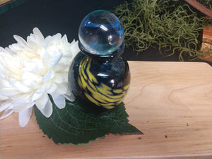 Hand blown glass urn Blue/Gold
