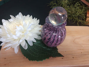 Hand blown glass urn Purple/Pink