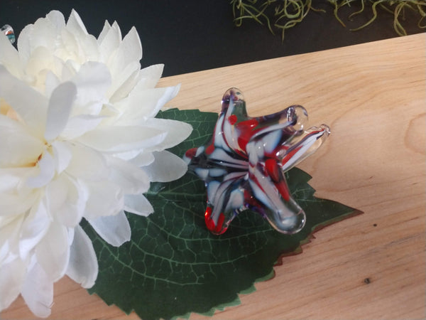 Hand blown glass small flower Red White & Blue