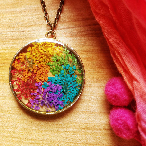 Acrylic Rainbow Flower Necklace