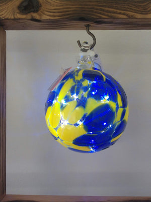 Hand blown glass memory ball Blue and Gold