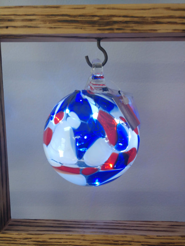 Hand blown glass memory ball Red White and Blue