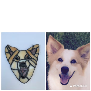 Custom Stained Glass Pet Portrait Sun Catcher
