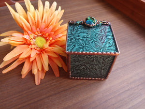 Lg Green Stained Glass Box