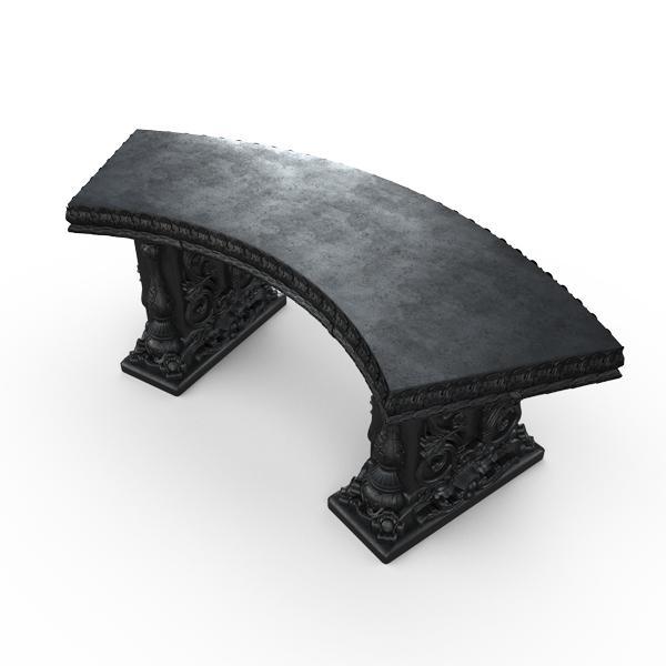 Gardenstone Allegra Bench Benches Gardenstone Etched Black Curved