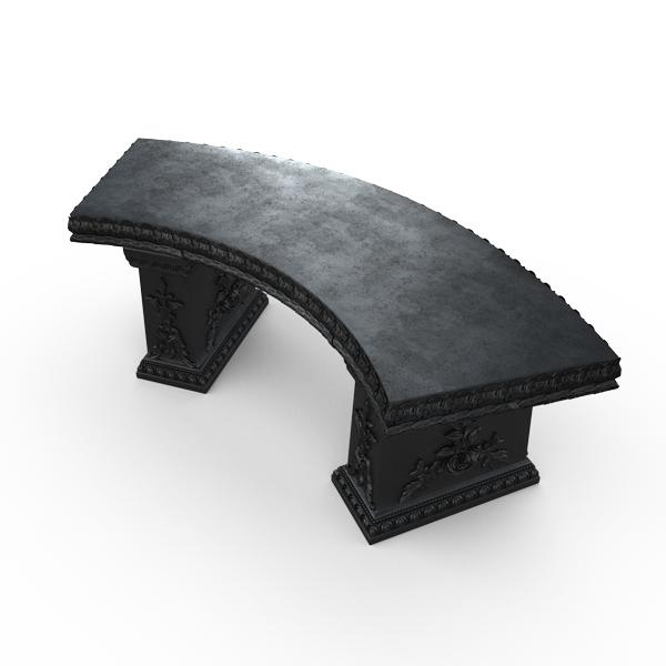 Gardenstone Cotillion Bench Benches Gardenstone Etched Black Curved