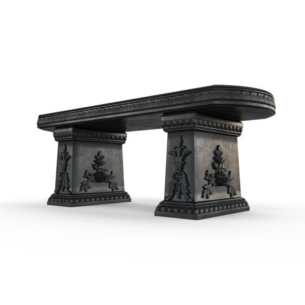 Gardenstone Cotillion Bench Benches Gardenstone Etched Black Straight