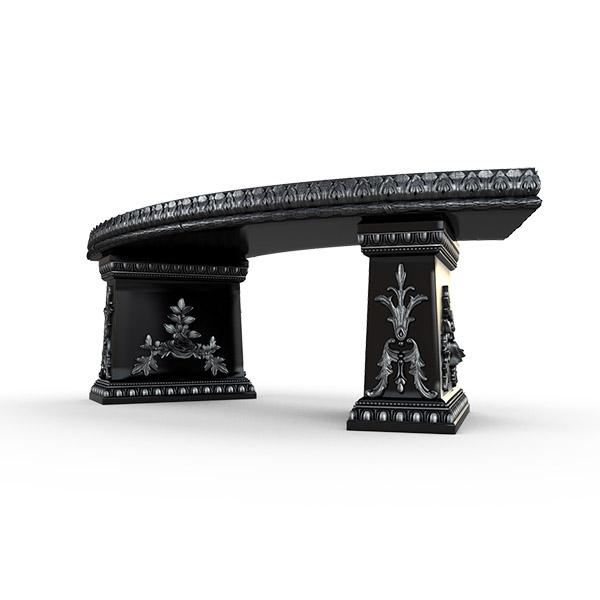 Gardenstone Cotillion Bench Benches Gardenstone Silver Black Curved