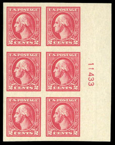 US #534 1920 2c carmine, plate block of six, hinged. Cat. 534