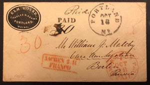TangStamps US Stampless Cover Portland To Berlin Germany, New York France Cancel