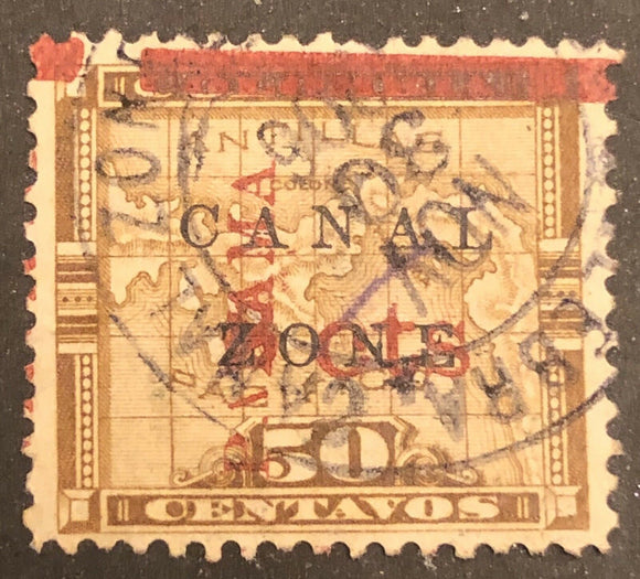 "TangStamps Canal Zone Stamp #14 Used Error One ""PANAMA"" Overprint"