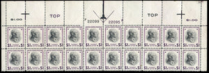 US #832 $1 Wilson, top margin double plate number block of 20, never hinged, few perf. separations and inclusion. Cat. 832