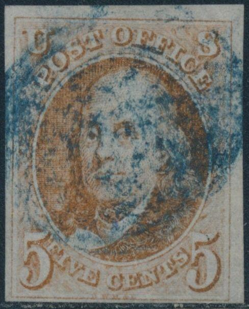 US #1 1847 USED BLUE CANCEL WITH PSE CERT