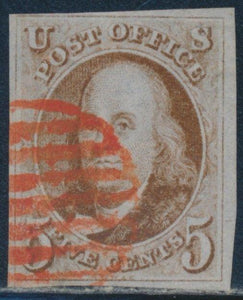 US #1 1847 WITH 4 MARGINS USED