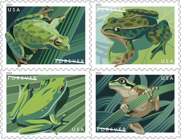 US #5395-5398 2019  Frogs