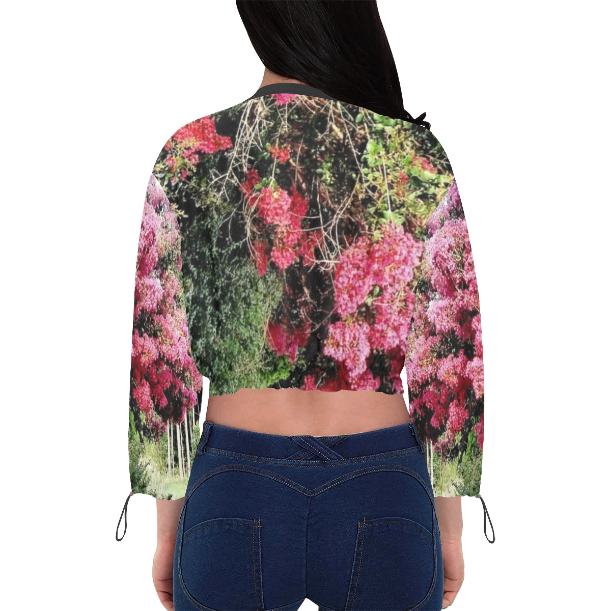 Flor Rosa Chiffon Cropped Women's Jacket - ONCE|NUDE