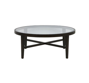 Ascot Glass Top Round Coffee Table - Mocha