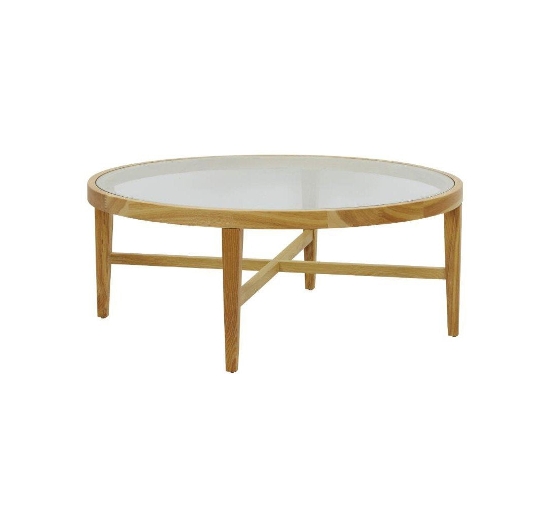 - Ascot Glass Top Round Coffee Table - Natural – Shibui Interiors