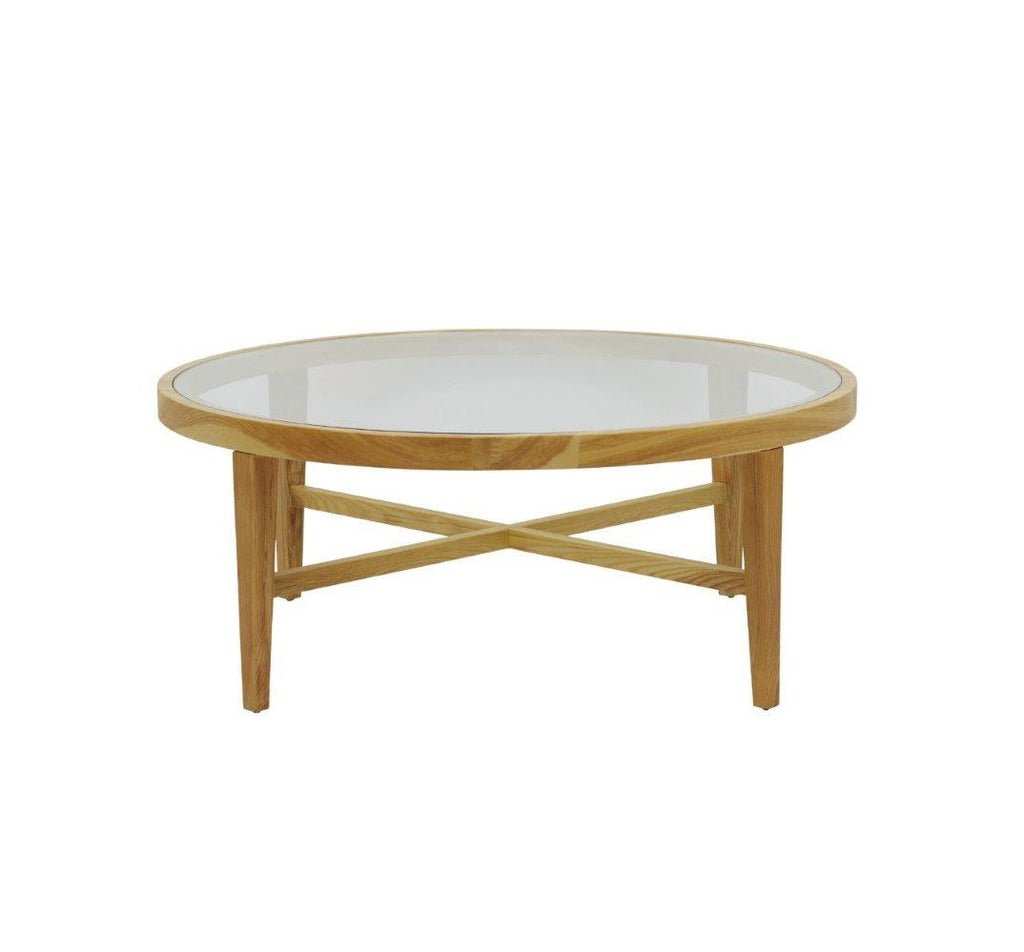 Ascot Glass Top Round Coffee Table - Natural