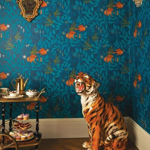 Blue Textured with goldfish and seaweed pattern wallpaper