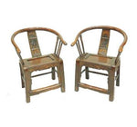 Pair of Antique Asian Horseshoe Chairs