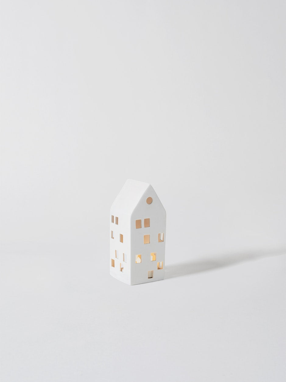 Porcelain Townhouse Candle Holder White