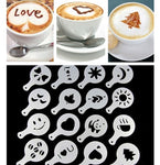 16Pcs Coffee Barista Art Stencils