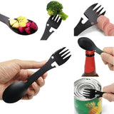 Multi functional Camping Spoon Fork Can Opener