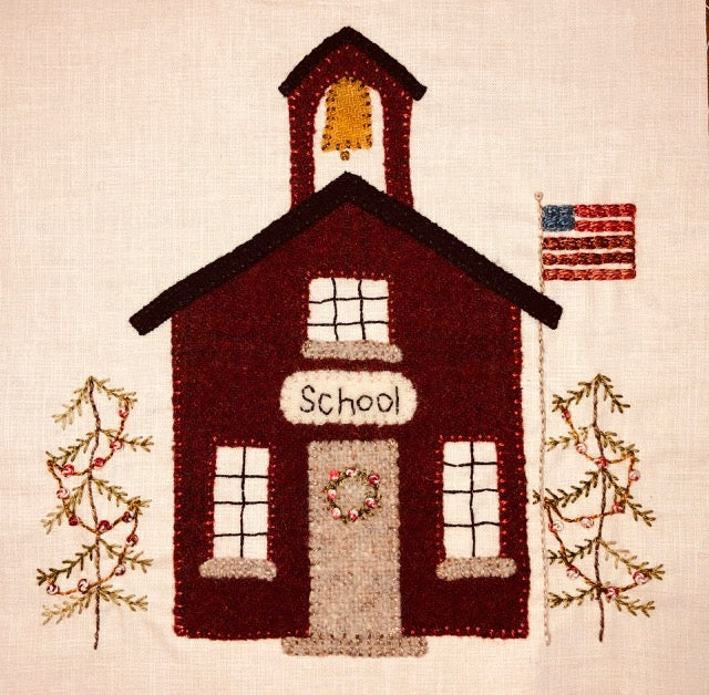 Village Schoolhouse Block - Christmas Village Sew A Long