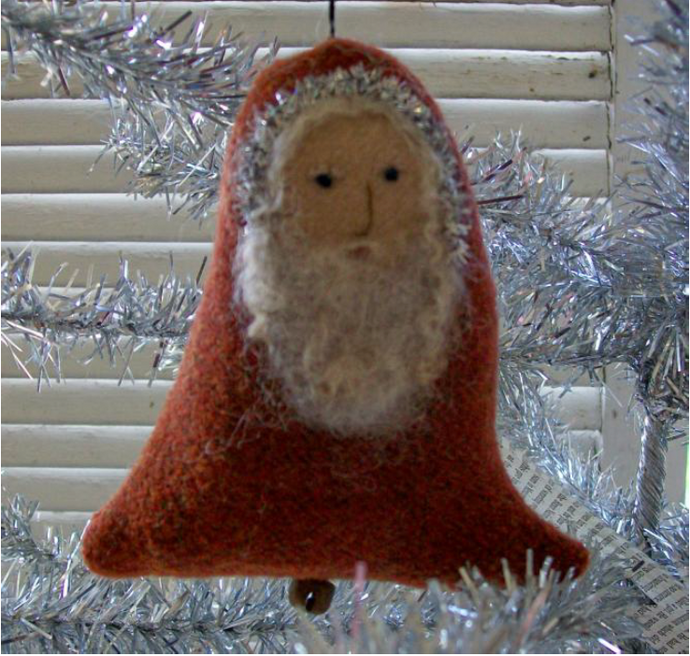 Primitive Santa Bell Ornament