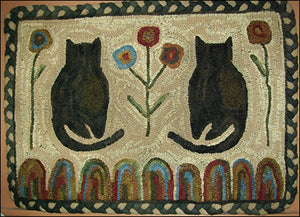 Spring Kitties Primitive Rug Hooking Pattern