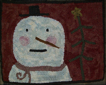 Mr. Snow Primitive Snowman Rug Hooking Pattern