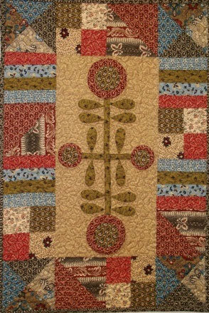 Old Time Cross Flowers Primitive Quilt Pattern