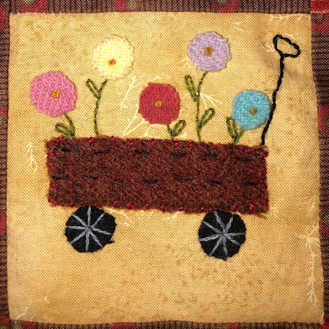 Mini Wool Block Quilt Weekly Sew Along - Block 13 Wagon
