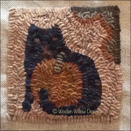 Pumpkin and Kitty Primitive Rug Hooking Pattern