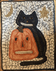 Smilin' Cat and Jack Primitive Rug Hooking Pattern