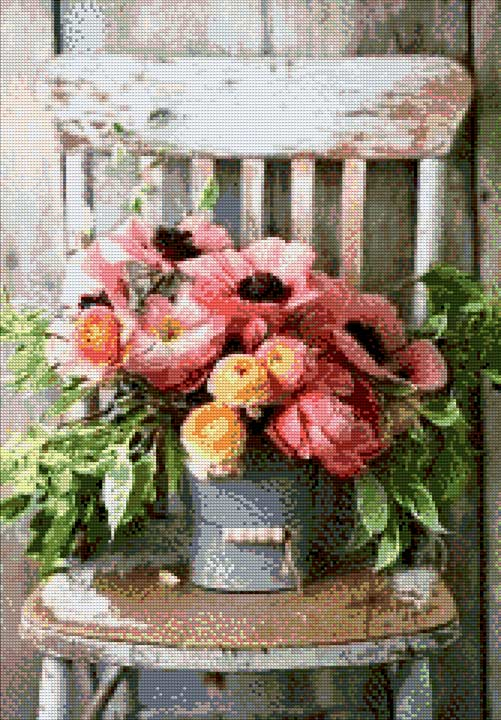 A potted Flower on the Chair DIY Diamond Painting Kit