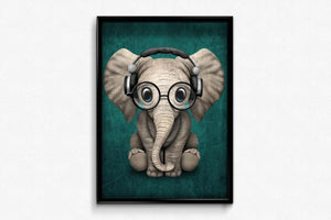 Baby Elephant in headphones DIY Diamond Painting Kit